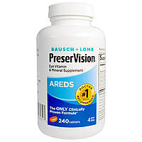 Bausch & Lomb PreserVision, AREDS, Eye Vitamin & Mineral Supplement, 240 Tablets