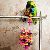 Красочные деревянные кубики блоки птица клетке попугай клетки аратинга жевать игрушки игрушки