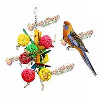 Красочные деревянные попугай висит жевать игрушки колокол мяч клетка играет питомец птица попугай игрушек