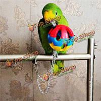 3 типа птица попугай жевать мяч повесить клетку восхождение игрушка качели мяч волнистый попугайчик