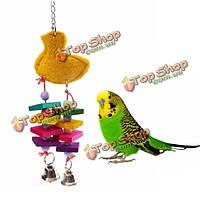 Птицу мочалку укусов жевать игрушки качели игрушка Попугай в обойме деревянные игрушки с колокольчиками