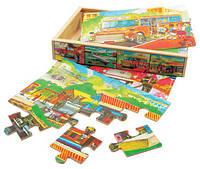 """4 Пазлы в коробке """"Транспорт"""" Деревянные развивающие игрушки"""