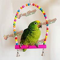 Деревянные качели попугай птица птицы попугай стенд держатель стойки деревянные игрушки с колокольчиками