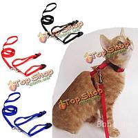 Домашняя кошка котенок регулируемые упряжь нейлон воротник пояса ведущий поводок