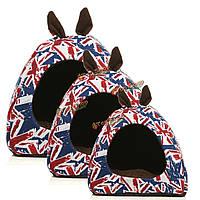 Теплый собаку домашняя кошка щенок Флаг Великобритании уха спальные подушки постельное хаты корзина питомник колодки