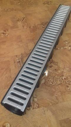 Канал из РЕ-РР (черный) с оцинкованной щелевой решеткой, фото 2