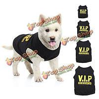 Вип любимчика собаки тельняшки майка щенок очень важен щенка черная одежда жилет