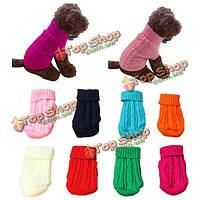 Собака кошка одежды зима твердое теплый свитер трикотажные щенка одежду