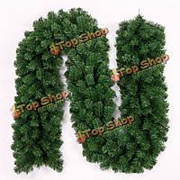 2.7м зеленый тростник елочная гирлянда декоративная из ротанга сад