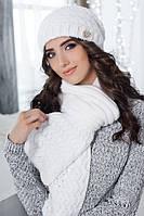 Комплект шапка и шарф крупной вязки белый 4301-10