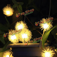 4.8м солнечной теплый белый colorul 20 LED патио декоративный шар пуха фея струнные светильники