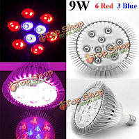 Светодиодная фитолампа для растений 9w E27 6 красный 3 синий LED