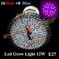 12w E27 16 красный 8 синий сад завод растет LED лампа парниковый свет роста рассады растений