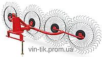 Грабли ворошители Wirax 4 колеса BR на круглой трубе,оцинкованная спица 5 мм