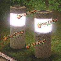 Солнечной энергии каменный столб белого LED лампы сад газоном дворе украшения