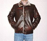 Дубленка мужская кожзам коричневая