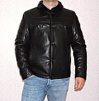 Дубленка мужская кожзам черная
