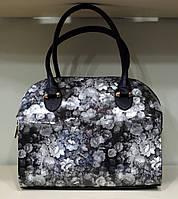 """Женская сумка """"MIC"""" цветочный принт, серая"""