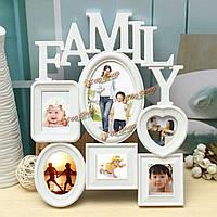 Семья фоторамки фоторамки стене висит картина дисплей держатель домашнего декора белый пластик