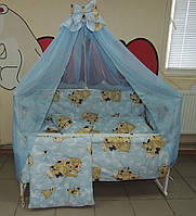 Детское постельное белье голубое Мишки спят Bonna 9 в 1 + ДЕРЖАТЕЛЬ ДЛЯ БАЛДАХИНА В ПОДАРОК!