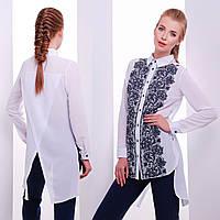 Белая шифоновая блуза фрак с удлинённой спинкой разлетайкой