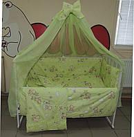 Детское постельное белье салатовое Мишка пчелка на облаке Bonna 9 в 1