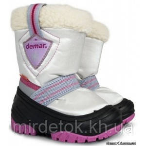 Детские зимние сапоги Demar TOBY a (бело-розовые)