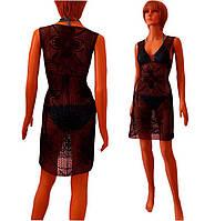 ee4be8b810a Черное вязаное крючком пляжное платье с ажурными фрагментами