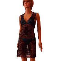 Черное вязаное крючком пляжное платье с ажурными фрагментами