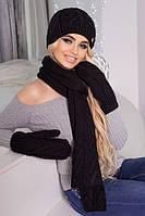 Комплект шапка, варежки и шарф крупной вязки в 9ти цветах 4330-16