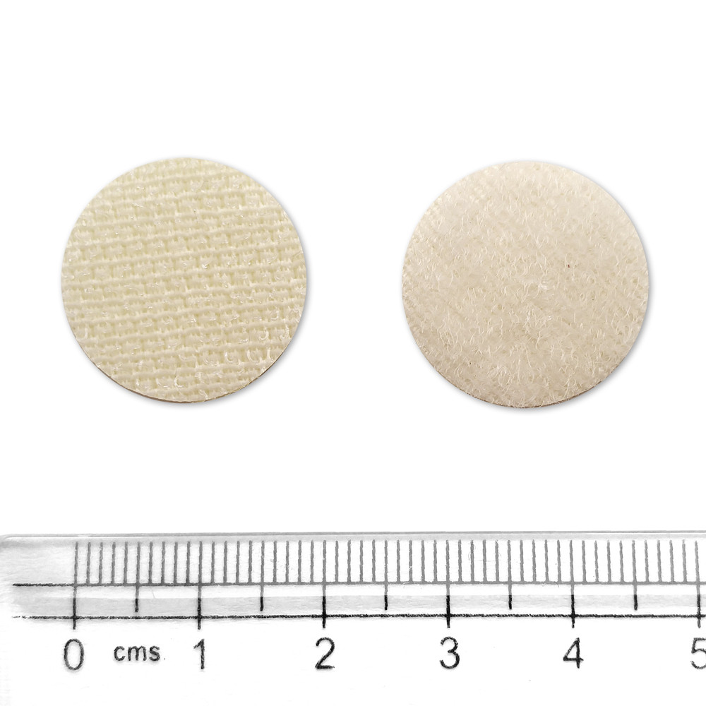 Липучка круглая белая, 20 мм, Корея, набор (жесткая часть + мягкая часть)