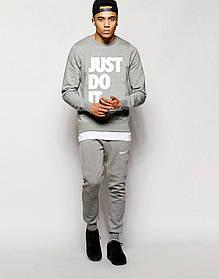 Мужской Спортивный костюм Nike JUST DO IT серый с белым принтом