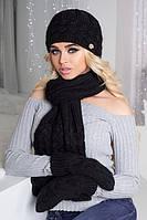 Комплект шапка, варежки и шарф крупной вязки черный 4325-16
