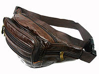 Поясная сумка 80-50412 бананка коричневая из кожвинила