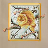 Толстый кот счетный крест стежка ручной наборы животных вышивки крестом комплект вышивки рукоделием