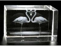 Сувенир голограмма в хрустале Фламинго