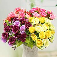 21 голов искусственные розы букет цветов поддельные шелка свадебный подарок украшения домашнего декора спальни