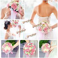Ручной работы цветок розы искусственные цветы свадебный свадебный букет брошь кристалл жемчуг цветы