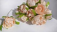 Роза из ткани 4-5 см персиковая (цена за 1 цветок)
