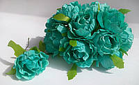 Роза из ткани 4-5 см мятная (цена за 1 цветок)