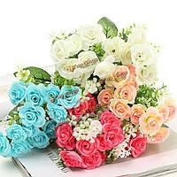 15 головки искусственных роз моделирования цветок листьев букет домой Свадебные украшения вечеринка в саду