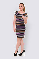 Легкое женское платье больших размеров из трикотажа с карманами 90161/3, фото 1
