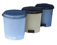 """Ведро мусорное пластиковое с педалью 6 литров """"Горизонт"""""""