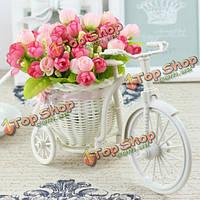 Большие ротанга трехколесный велосипед ваза цветочная корзина хранения партии декор