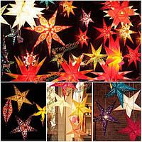 Звездочка-фонарик бумажная подвесная 30см