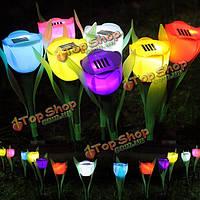 Открытый Двор Сад Газон Солнечная энергия LED Ночные огни тюльпана лампы