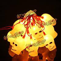 Хэллоуин LED мигающий череп главы струнные светильники 220В-16 светодиодов