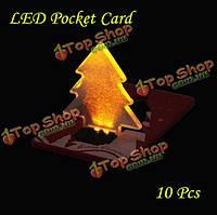 10шт спинка карты лампы милые LED легкие Рождественская елка карманные лампы бумажник карты подарок поздравительные открытки