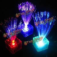 7 цветов изменение волоконно-оптических мигающий LED кубик ночь свет лампы