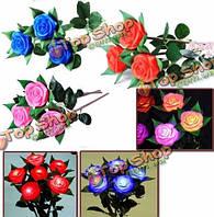 6шт LED цветов изменяя розы огни на открытом воздухе двор сад моделирования цветок лампа роза